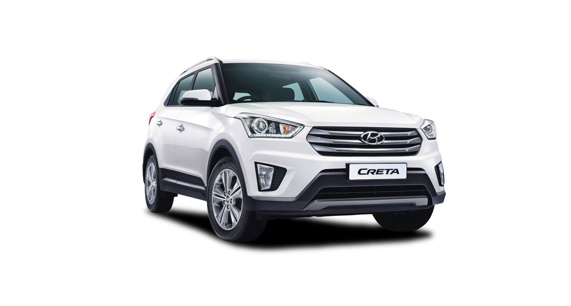 Right side front view of white Creta